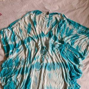 Blue tie dye coverup